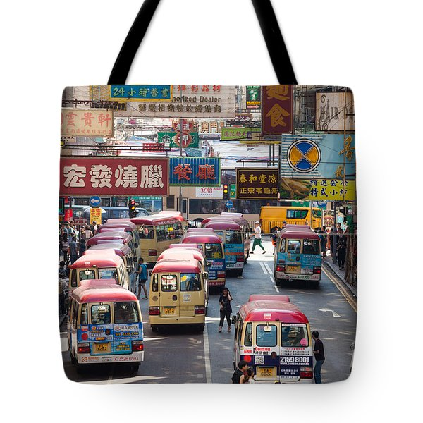 Street scene in Hong Kong Tote Bag by Matteo Colombo