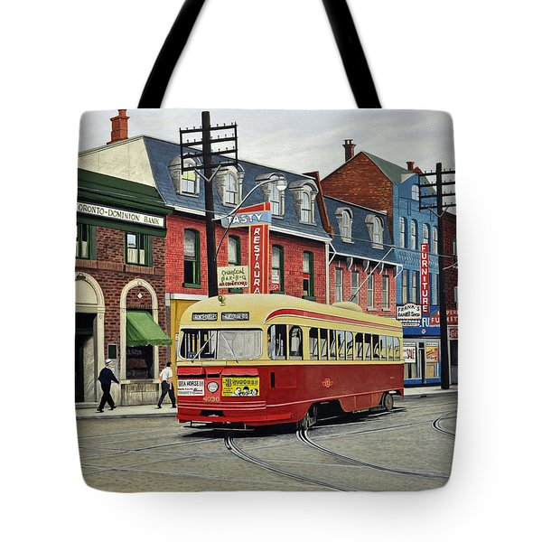 Streetcar On Queen Street 1963 Tote Bag by Kenneth M  Kirsch