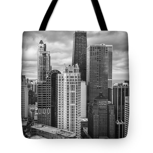 Streeterville From Above Black And White Tote Bag by Adam Romanowicz
