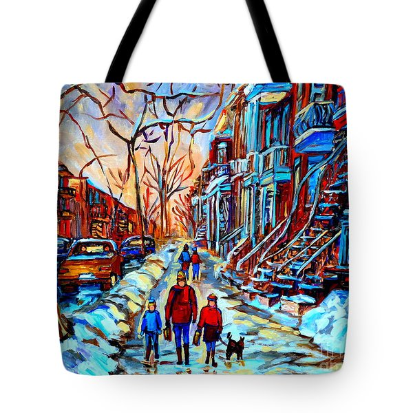 Streets Of Montreal Tote Bag by Carole Spandau