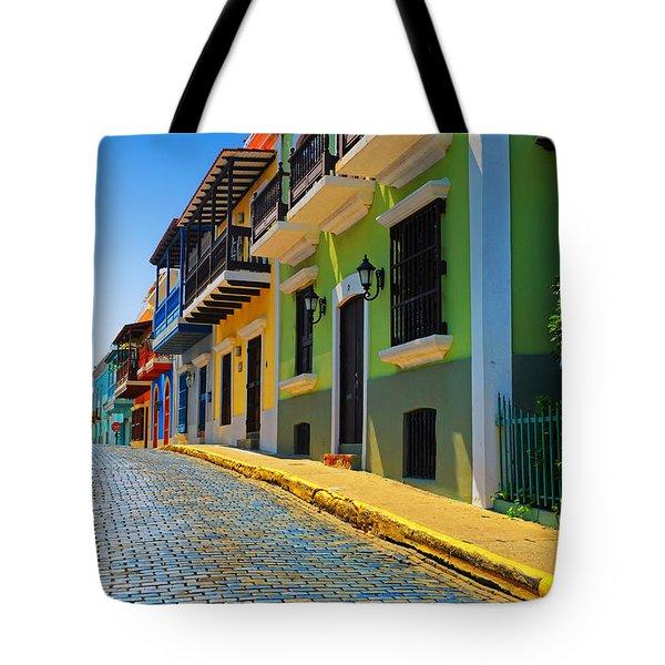 Streets Of Old San Juan Tote Bag by Stephen Anderson