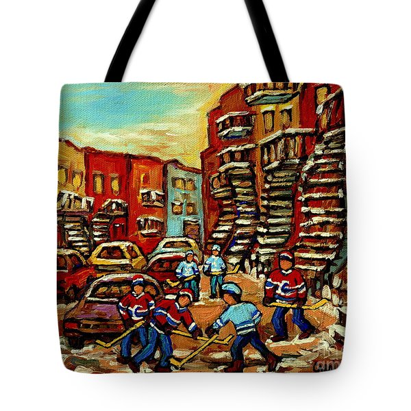 Streets Of Verdun Paintings He Shoots He Scores Our Hockey Town Forever Montreal City Scenes Tote Bag by Carole Spandau