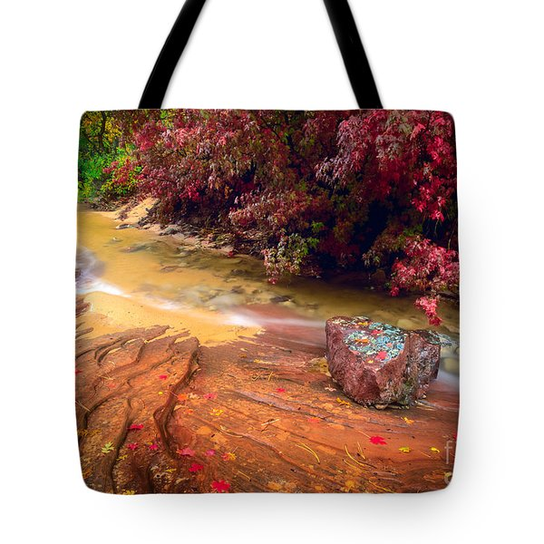 Striated Creek Tote Bag by Inge Johnsson