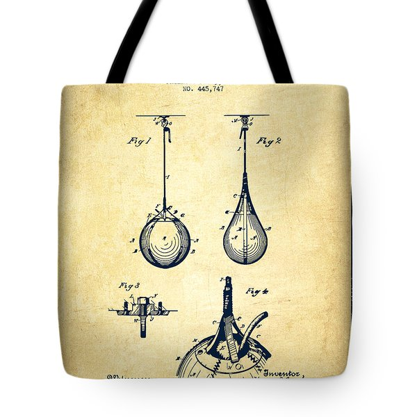 Striking Bag Patent Drawing From 1891 - Vintage Tote Bag by Aged Pixel