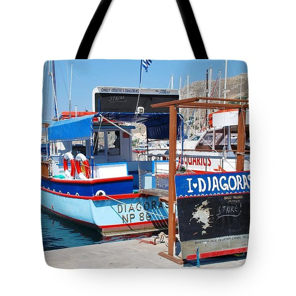 Striking Excursion Boat Symi Tote Bag by David Fowler