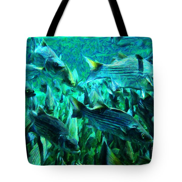 Striped Bass - Painterly v1 Tote Bag by Wingsdomain Art and Photography