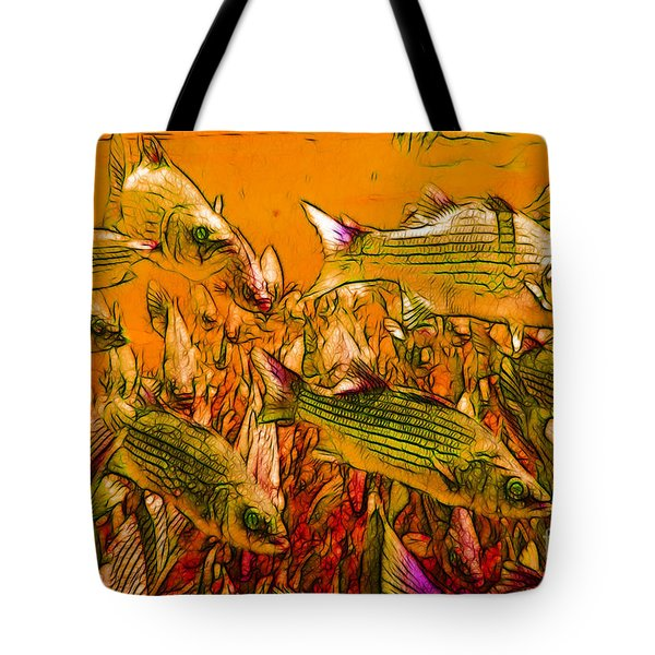 Striped Bass Tote Bag by Wingsdomain Art and Photography