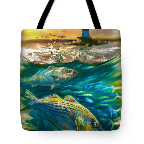 Striper And Lighthouse - Striped Bass Art Tote Bag by Savlen Art