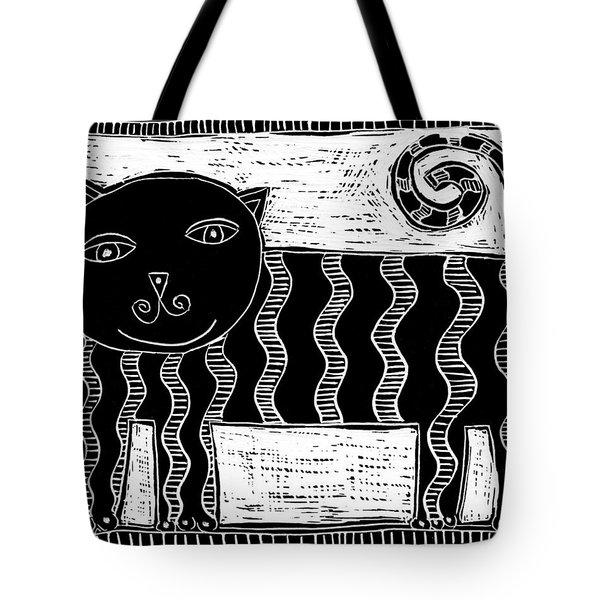 Stripey Cat Scraperboard Tote Bag by Julie Nicholls
