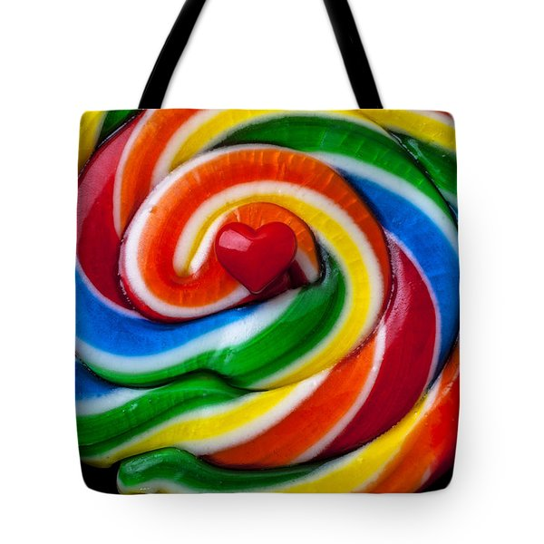 Sucker Heart Tote Bag by Garry Gay
