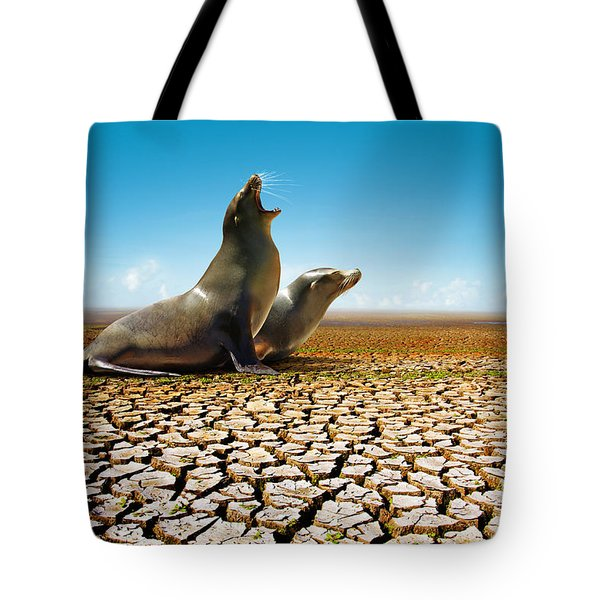 Suffering Seals Tote Bag by Carlos Caetano