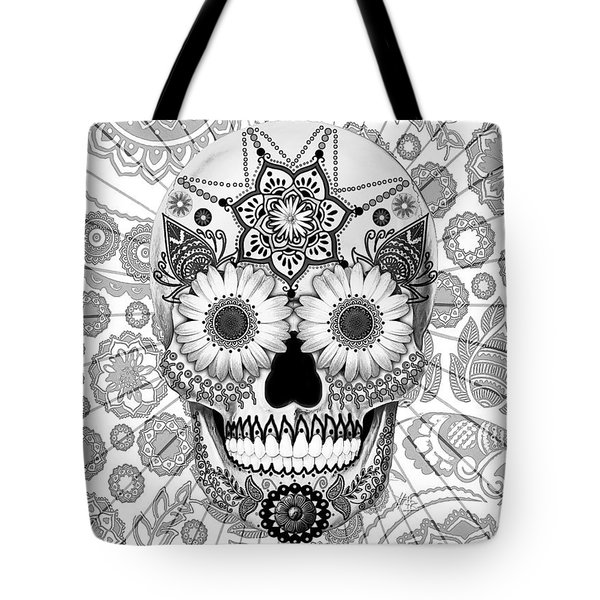 Sugar Skull Bleached Bones - Copyrighted Tote Bag by Christopher Beikmann