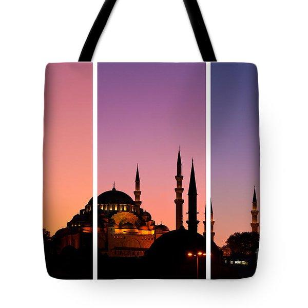 Suleymaniye Sundown Triptych 01 Tote Bag by Rick Piper Photography