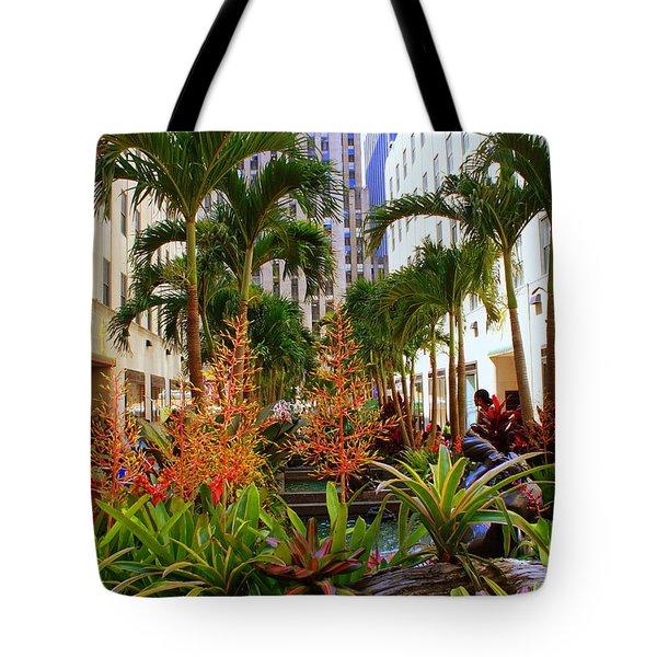 Summer At Rockefeller Center Tote Bag by Dora Sofia Caputo Photographic Art and Design