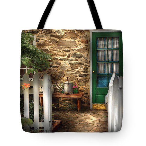 Summer - Cottage - Cottage Side Door Tote Bag by Mike Savad