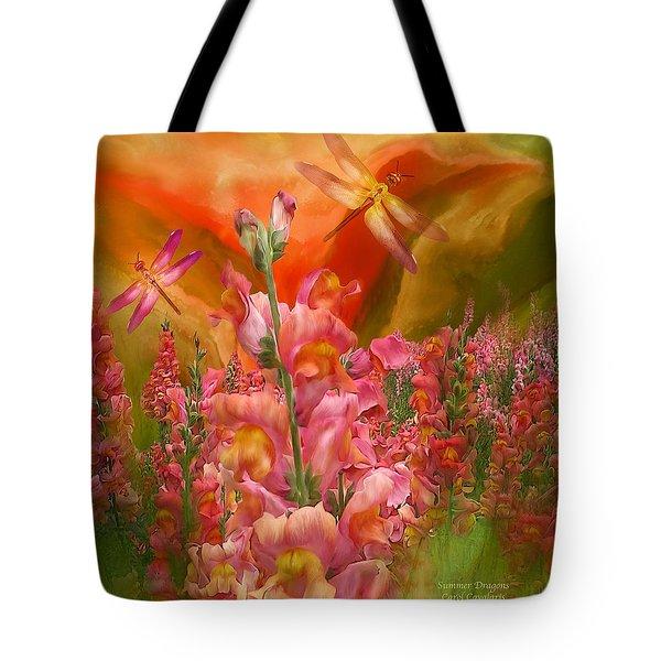 Summer Dragons - Square Tote Bag by Carol Cavalaris