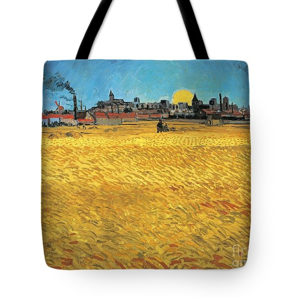 Summer Evening Wheat Field At Sunset Tote Bag by Vincent van Gogh