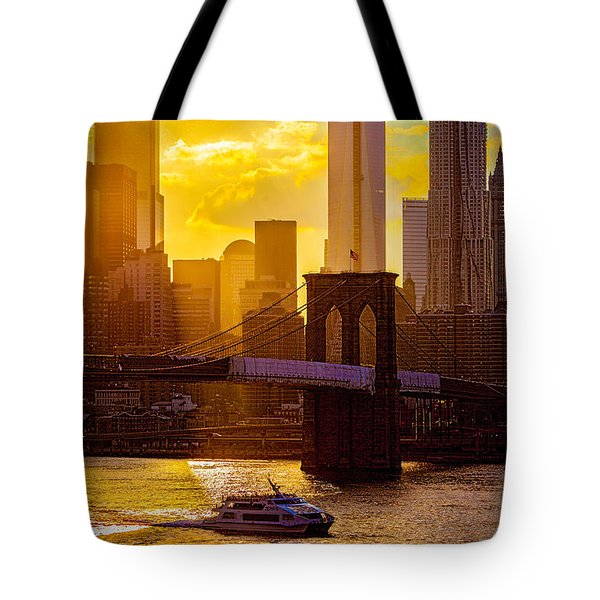 Summertime At The Brooklyn Bridge Tote Bag by Chris Lord