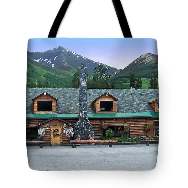 Summit Lake Lodge Alaska Tote Bag by Aimee L Maher Photography and Art Visit ALMGallerydotcom