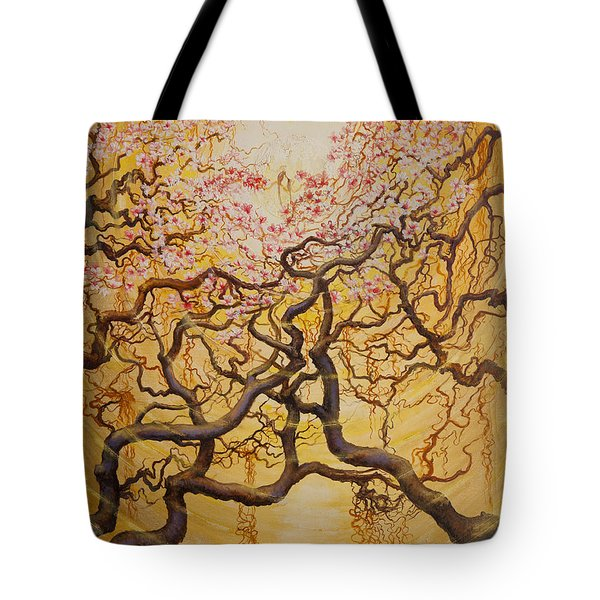 Sun And Sakura Tote Bag by Vrindavan Das