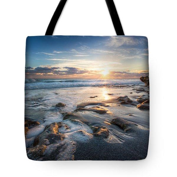 Sun Rays On The Ocean Tote Bag by Debra and Dave Vanderlaan