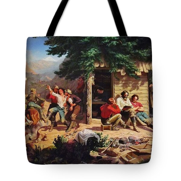 Sunday Morning In The Mines Tote Bag by Charles Nahl