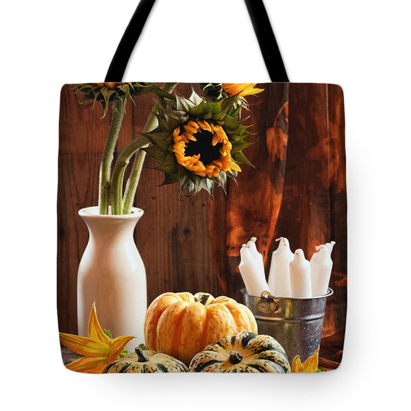 Sunflower And Gourds Still Life Tote Bag by Amanda And Christopher Elwell