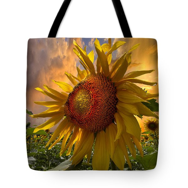 Sunflower Dawn Tote Bag by Debra and Dave Vanderlaan