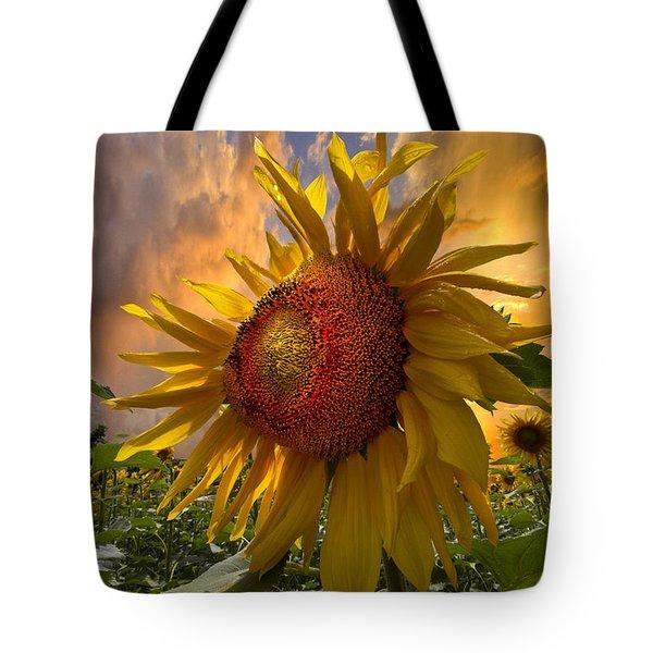Sunflower Dawn Tote Bag by Debra and Dave Vanderlaan