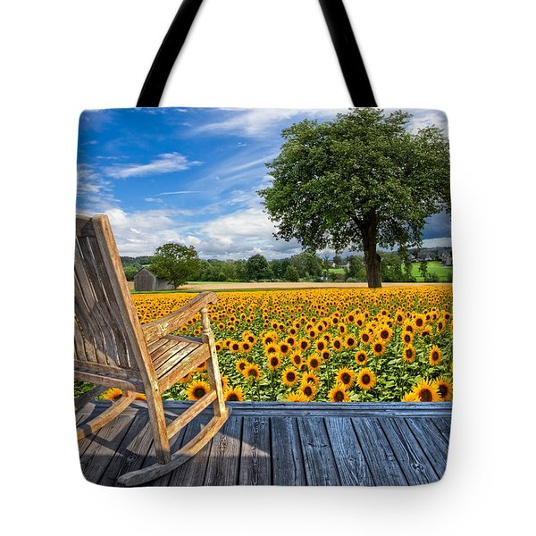 Sunflower Farm Tote Bag by Debra and Dave Vanderlaan