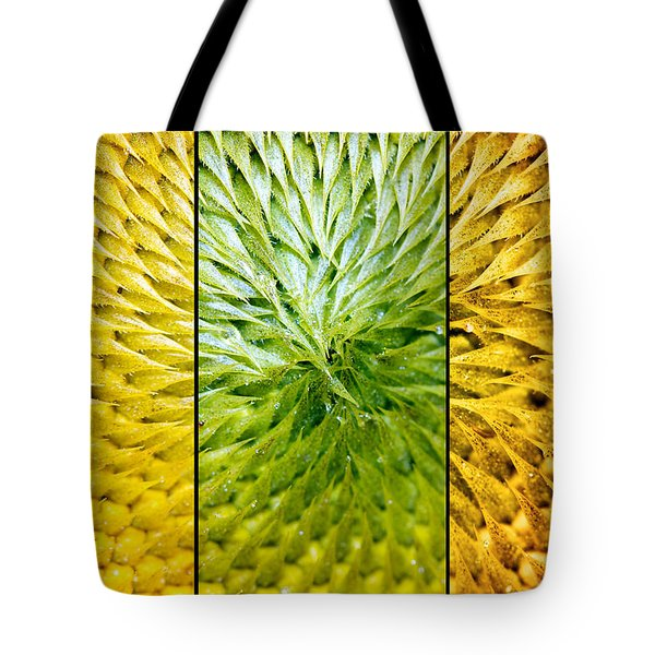 Sunflower Heart Triptych Tote Bag by Lisa Knechtel