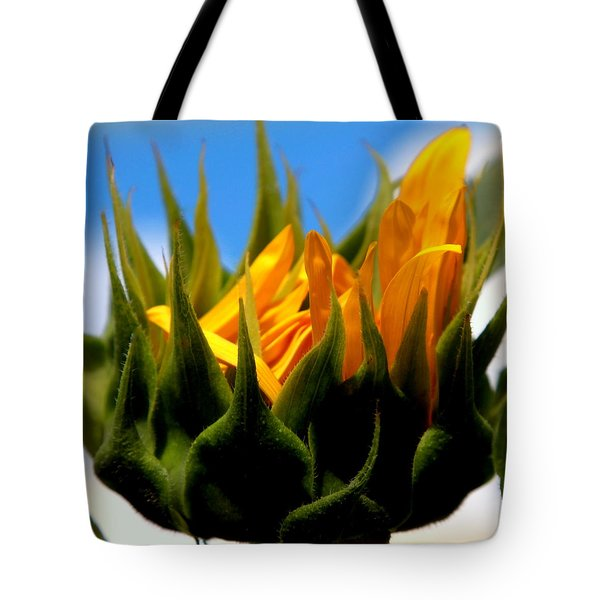 Sunflower Teardrop Tote Bag by Karen Wiles