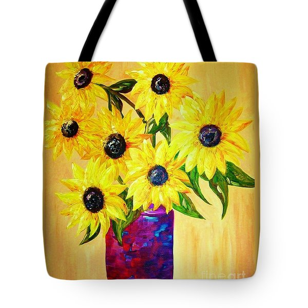 Sunflowers In A Red Pot Tote Bag by Eloise Schneider