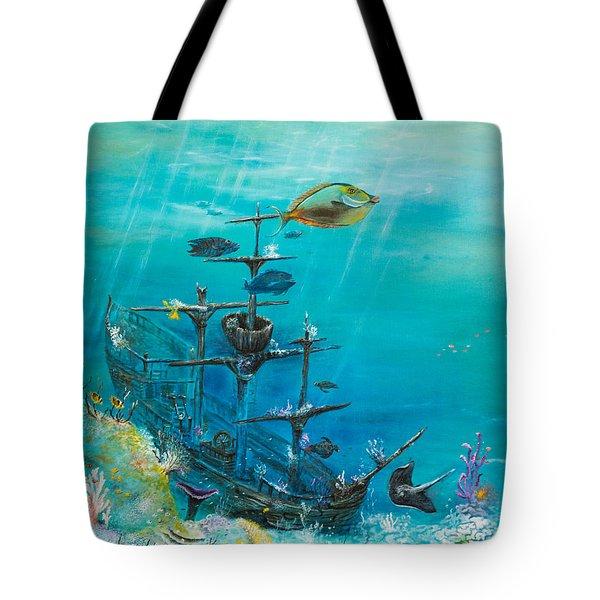 Sunken Ship Habitat Tote Bag by John Garland  Tyson