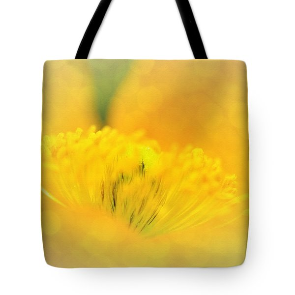 Sunlight On Poppy Abstract Tote Bag by Kaye Menner
