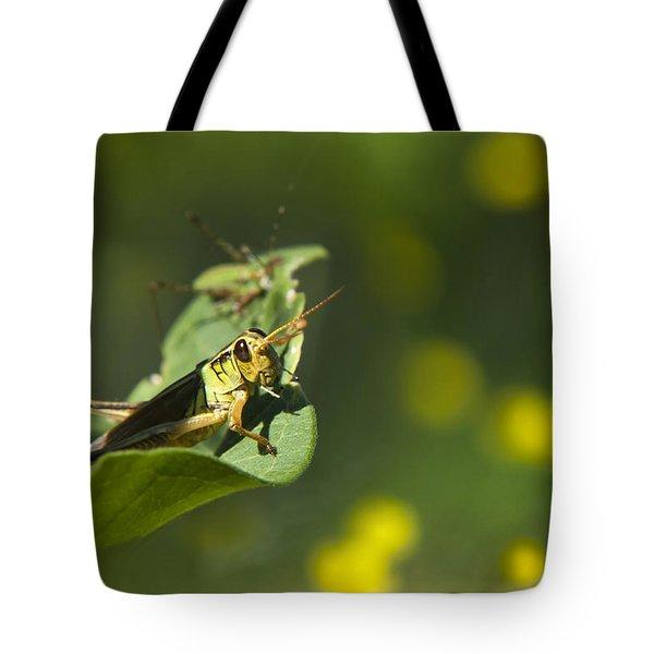 Sunny Green Grasshopper Tote Bag by Christina Rollo