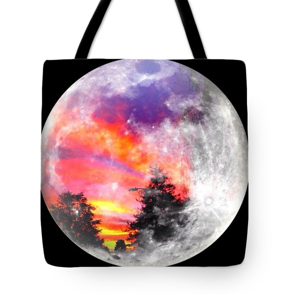 Sunrise And Full Moon Tote Bag by Anne Thurston