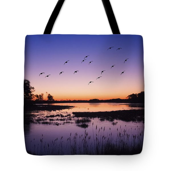 Sunrise At Assateague - Wetlands - Silhouette  Tote Bag by Shara Lee