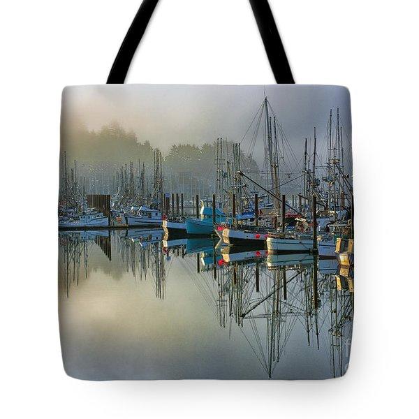 Sunrise At Newport Harbor Tote Bag by Sandra Bronstein