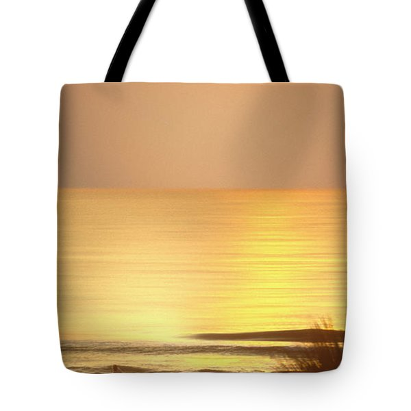 Sunrise At Topsail Island Panoramic Tote Bag by Mike McGlothlen