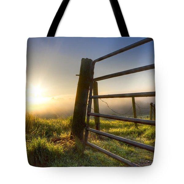 Sunrise  Gate Tote Bag by Debra and Dave Vanderlaan