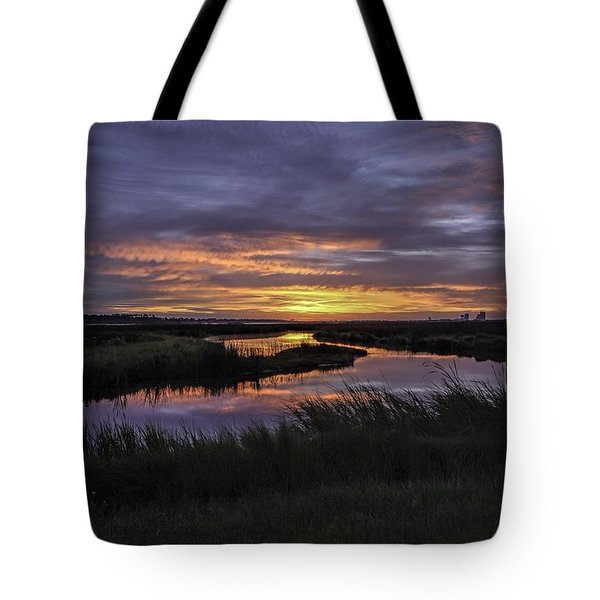 Sunrise On Lake Shelby Tote Bag by Michael Thomas