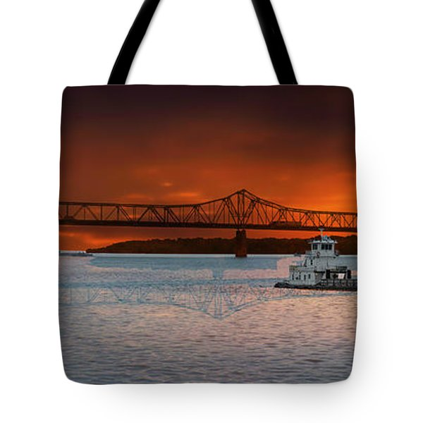 Sunrise On The Illinois River Tote Bag by Thomas Woolworth
