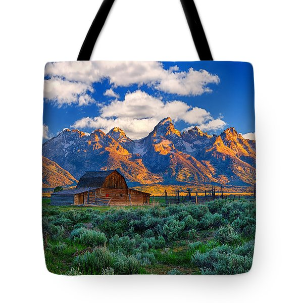 Sunrise on the Tetons Limited Edition Tote Bag by Greg Norrell