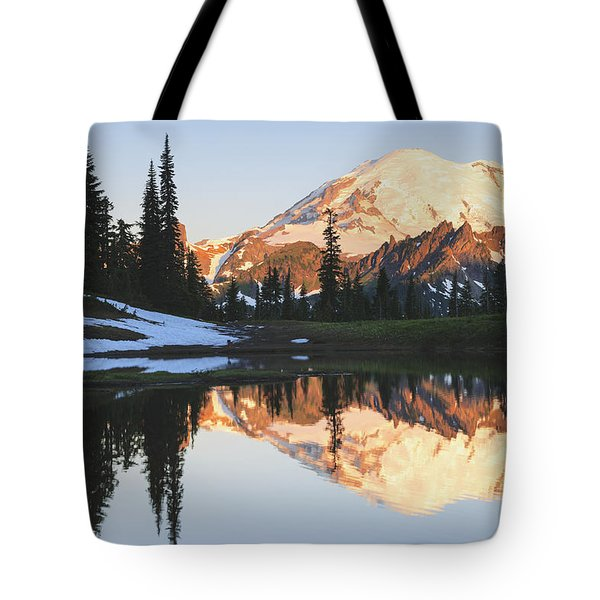 Sunrise Over A Small Reflecting Pond Tote Bag by Stuart Westmorland