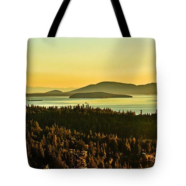 Sunrise Over Bellingham Bay Tote Bag by Robert Bales