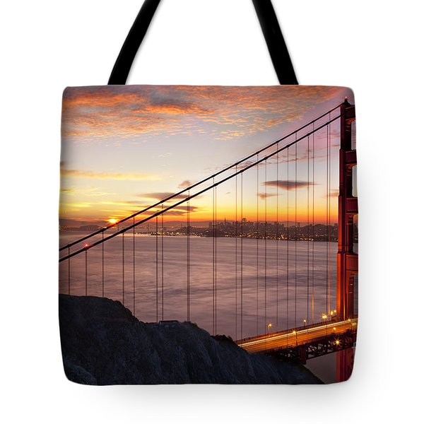 Sunrise over the Golden Gate Bridge Tote Bag by Brian Jannsen