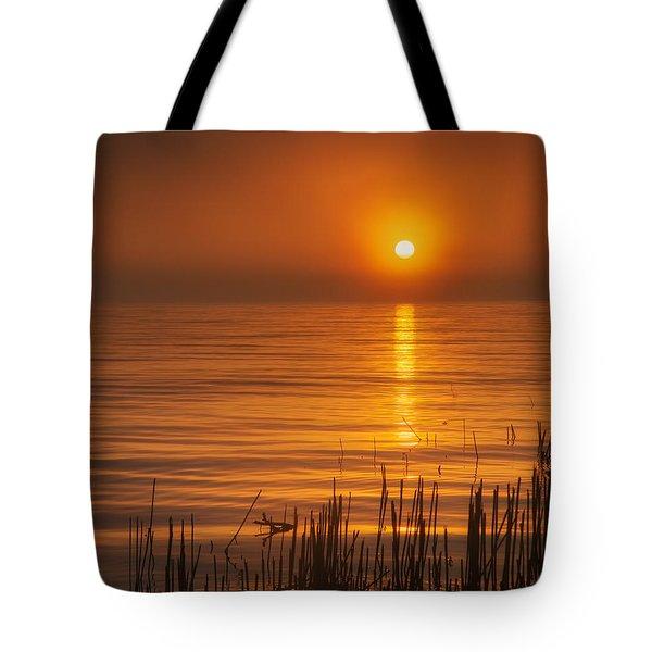 Sunrise Through The Fog Tote Bag by Scott Norris