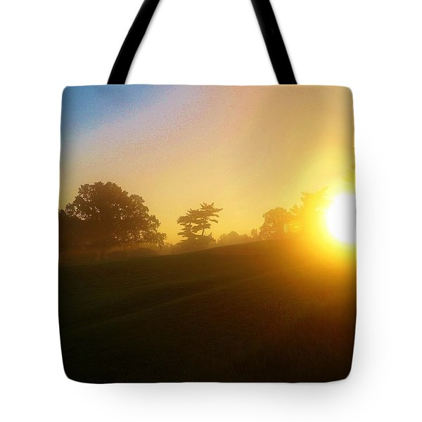 Sunrising Over The Club House Tote Bag by Daniel Thompson