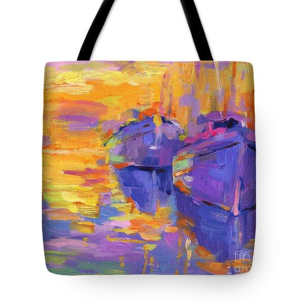 Sunset And Boats Tote Bag by Svetlana Novikova
